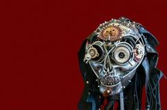 Череп металла с глазом от винтажного объектива фото стоковое фото
