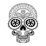 Череп нарисованный рукой в стиле zentangle, племенной тотем для татуировки, объявления бесплатная иллюстрация