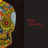 Череп нарисованный рукой человеческий в мексиканском искусстве Череп человека символа опасности Человеческий череп для татуировки Стоковые Изображения RF