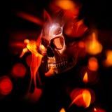 Череп на пламени Стоковое Фото