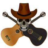 Череп нося ковбойскую шляпу на предпосылке  иллюстрация вектора