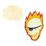 череп пирата шаржа пламенеющий с пузырем мысли Стоковое Фото