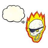 череп пирата шаржа пламенеющий с пузырем мысли Стоковая Фотография
