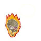 череп пирата шаржа пламенеющий с пузырем мысли Стоковые Изображения
