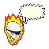 череп пирата шаржа пламенеющий с пузырем речи Стоковые Фотографии RF