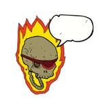 череп пирата шаржа пламенеющий с пузырем речи Стоковое Изображение RF