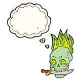 череп пирата шаржа с ножом в зубах с пузырем мысли Стоковое фото RF