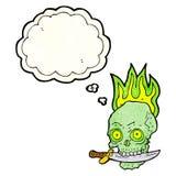 череп пирата шаржа с ножом в зубах с пузырем мысли Стоковое Фото