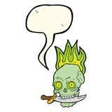 череп пирата шаржа с ножом в зубах с пузырем речи Стоковые Фотографии RF