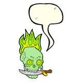 череп пирата шаржа с ножом в зубах с пузырем речи Стоковая Фотография RF