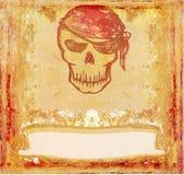 череп пирата grunge карточки ретро Стоковые Изображения RF