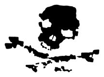 череп пирата grunge черный бесплатная иллюстрация