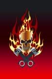 череп поршеня пламени Стоковая Фотография