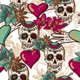 Череп, сердца и предпосылка цветков безшовная Стоковое Изображение RF