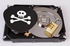 Череп с косточками и жестким диском от компьютера, концепцией безопасностью кибер стоковое изображение