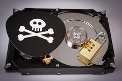Череп с косточками и жестким диском от компьютера, концепцией безопасностью кибер стоковые изображения