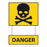 Череп с косточками с надписью опасность Череп и косточки на оранжевой предпосылке бесплатная иллюстрация
