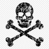 Череп с косточками поцарапал на изолированной прозрачной предпосылке Worn значок черепа Символ пиратов лавр граници покидает вект иллюстрация штока