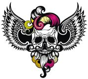 Череп с крыла для дизайна футболки Стоковая Фотография