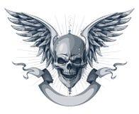 Череп с крылами иллюстрация штока
