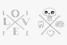 Череп с мозгом, зубом и сердцем Бесплатная Иллюстрация