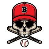 Череп с пересеченной бейсбольной битой и носить значок логотипа крышки иллюстрация вектора