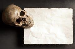 Череп с старой бумагой Стоковое фото RF