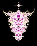 череп фрактали коровы иллюстрация вектора