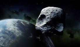 Череп хеллоуин 3D большей тыквы астероидный представил CGI иллюстрация вектора
