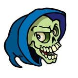 Череп хеллоуина с голубым клобуком стоковое фото rf