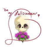 Череп хеллоуина с thistles в влюбленности сердца Стоковая Фотография RF