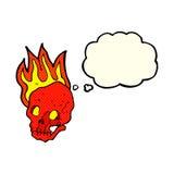 череп шаржа пламенеющий с пузырем мысли Стоковое Изображение RF
