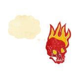череп шаржа пламенеющий с пузырем мысли Стоковые Фото