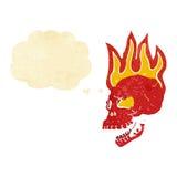 череп шаржа пламенеющий с пузырем мысли Стоковая Фотография
