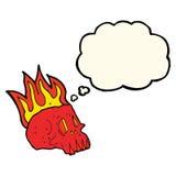 череп шаржа пламенеющий с пузырем мысли Стоковое Изображение