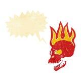 череп шаржа пламенеющий с пузырем речи Стоковое Изображение