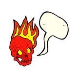 череп шаржа пламенеющий с пузырем речи Стоковые Фотографии RF