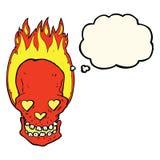 череп шаржа пламенеющий с сердцем влюбленности наблюдает с пузырем мысли Стоковое Фото