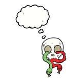 череп шаржа с змейками с пузырем мысли Стоковые Изображения