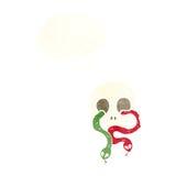 череп шаржа с змейками с пузырем мысли Стоковое Фото