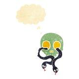 череп шаржа с змейками с пузырем мысли Стоковая Фотография RF