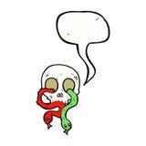 череп шаржа с змейками с пузырем речи Стоковое Изображение