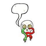 череп шаржа с змейками с пузырем речи Стоковое Фото