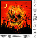 череп halloween grunge Стоковое Фото