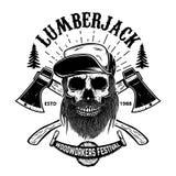 Череп Lumberjack Шаблон плаката фестиваля Woodworkers иллюстрация штока