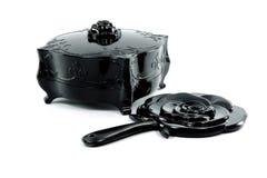 Черная античная старая коробка с черным зеркалом Стоковое фото RF