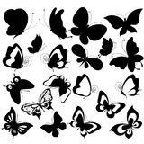 Черная бабочка, изолированная на белизне Стоковые Изображения