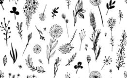 Черная безшовная картина с травой на белой предпосылке Hygge, стиль boho также вектор иллюстрации притяжки corel Элемент дизайна  стоковые фотографии rf