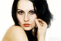 черная белизна волос девушки стоковое фото