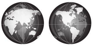 черная белизна глобуса Стоковые Изображения